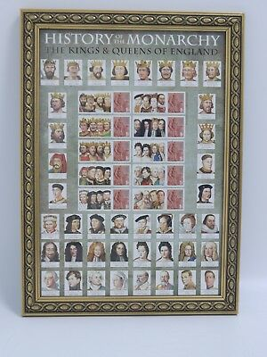 Kings & Queens of England Framed Poster with Royal Mail Stamps (JMW10)
