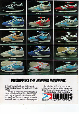 """1981 Brooks """"Support The Women's Movement"""" Shoe Collection Print Advertisement"""