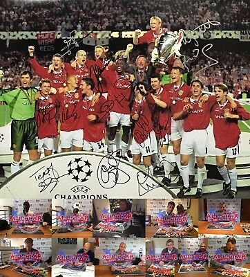 Manchester United Champions League 1999 Football Photo Signed By 12 Coa Proof