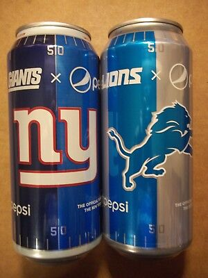 2 - 16 oz. Pepsi Cola Cans for NFL NY Giants & Detroit Lions Official Soft Drink