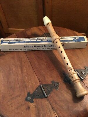 Original Wooden Schotts Descant Recorder In C New Old Stock