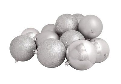 Northlight 16 Count Silver Splendor Shatterproof 4-Finish Christmas Ball 3""