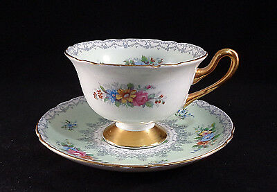 Shelley China Crochet Footed Cup And Saucer Vintage Gilded Handle Foot