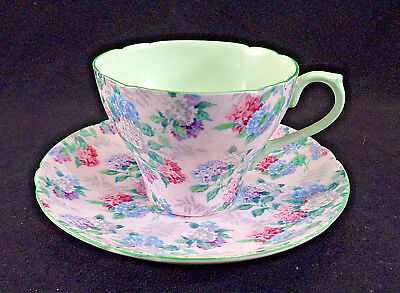 Vintage Shelley Chintz Demitasse Cup & Saucer Pink Summer Glory