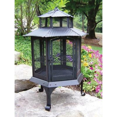 Cast Iron Wood Burning Pagoda Fire Pit Dual-Level Screen with Locking Door