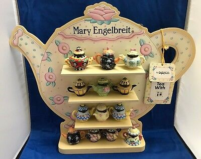 Mary Engelbreit Lil Teapots with Original Stand 14 Piece Set