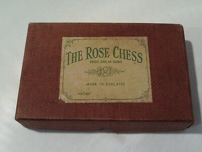 Vintage The Rose Chess - Part Set - Metal Pieces - Boxed