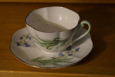 SHELLEY Floral Pale green handle TEA CUP and SAUCER 2504 MINT condition