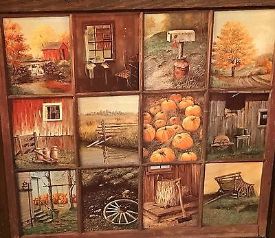 Homco Home Interiors Picture Artist B. Mitchell Windowpane 12 Pics Wood Frame
