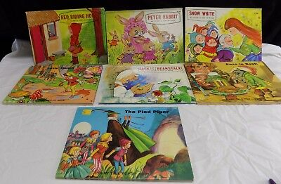 7 vintage Pop-up Classic Books Pied Piper, Little Thumb Peter Rabbit, Snow white