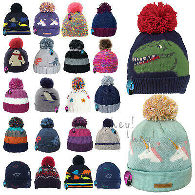Kids Winter Hat Thick Knitted Warm Wooly Pom Bobble Ski Striped Boys Girls Child