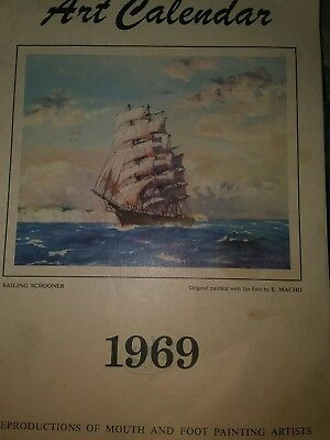1969 Art Calendar MFPA Foot & Mouth Artists unused Vintage