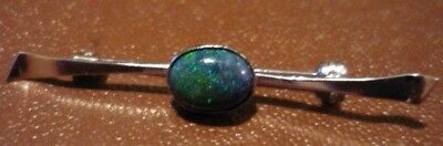Sterling Silver 925 Bar Brooch with Opal