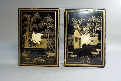 E99 LOT OF 2 SMALL ASIAN LACQUER PLAQUES 3 3/4 by 2 3/4 inch