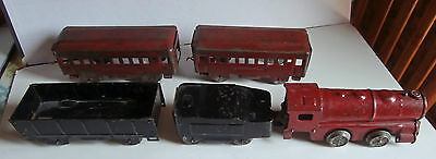 RARE  ANTIQUE FLOOR PULL TOY wood TRAIN 28 inch LOCO & 4 WAGONS