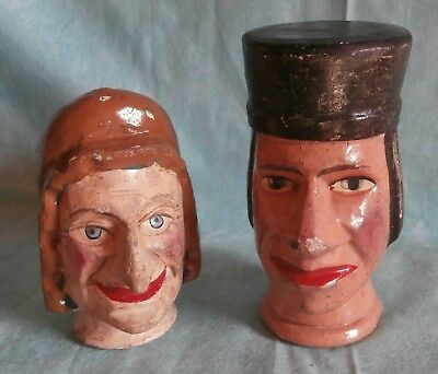c19th  Punch &Judy  wooden carved  MARIONETTEN /PUPPET   JUDY  and  JUDGE