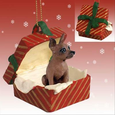 Miniature Pinscher Red Brown Dog RED Gift Box Holiday Christmas ORNAMENT