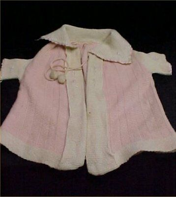 Vintage Antique Baby Doll Dress Coat Wool Knitted PINK Embroidered Accents 1940s