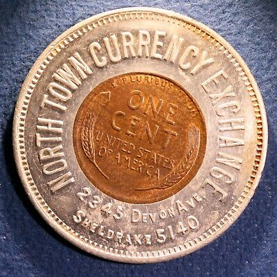 Encased 1938 cent - North Town Currency Exchange, Chicago, Illinois
