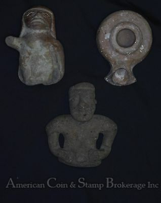 lot of 3 Artifacts Pre Colombian Clay Oil Lamp Large Women Fragment Man