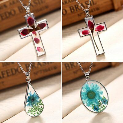 Natural Dried Rose Flower Cross Drop Glass Pendant Necklace Chain Women Jewelry