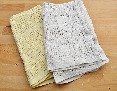 2x Baby Cellular blanket, white and yellow, bundle
