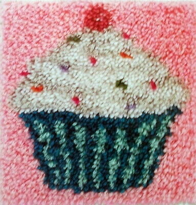 "Caron Latch Hook Pillow/ Rug  Kit  ""a Cupcake"""