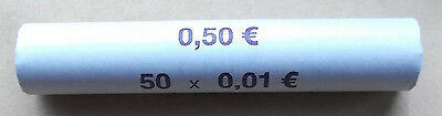 EURO 1 Cent Coin Roll - 50 x 1 Cent coins - From Bundesbank Frankfurt