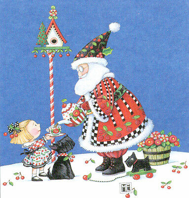 SANTA TEA PARTY SCOTTY-Handcrafted Christmas Magnet-Using art by Mary Engelbreit