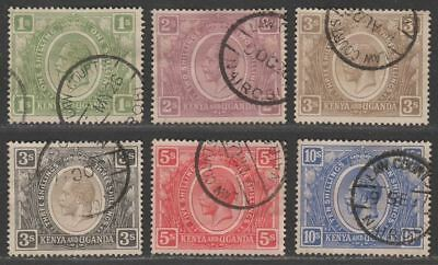 Kenya and Uganda 1922-27 King George V Part Set to 10sh Fiscally Used Law Courts