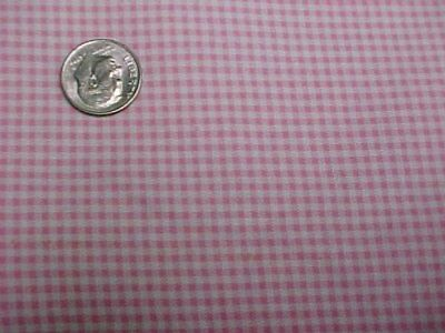 Vintage Antique Cotton Quilt Doll Fabric Tiny PINK Checks Material 1930s