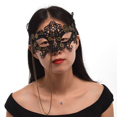 Vintage Steampunk Gear Clock Movement Veil Gothic Victorian Black Lace Mask