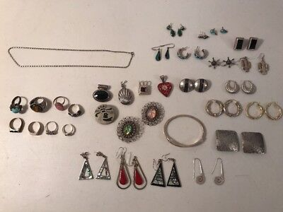 sterling silver Mexico Mexican lapis turquoise 51 piece jewelry lot ring earring