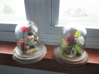 """Lot of 2 Vintage 5"""" Tall HEAVY GLASS DOME DISPLAY CASE WITH ROUND WOOD BASE"""