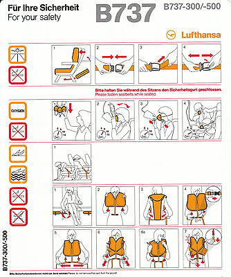Safety Card LH B737-300/-500 Boeing 737 Sammlerstück NEU!!! (09/2011 in Germany)