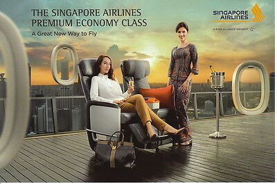 "Singapore Airlines Postcard Postkarte ""A great new way to fly"" Premium Economy"