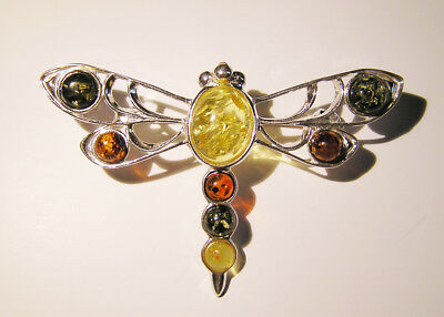 Gorgeous Baltic Amber And Sterling Silver Brooch - Boxed With Certificate