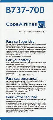 Safety Card Copa Airlines B737-700 Panama Kolumbien