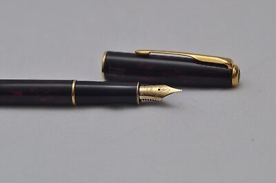 Lovely Vintage Parker Sonnet Fountain Pen Red Marble Lacquer18K Gold Nib Uninked