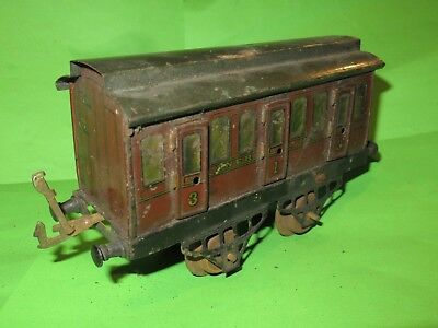 Hornby O gauge tinplate early LNER coach with opening doors for renovation