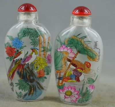 Collection Handwork Decor Glass Inner Paint Mandarin Duck & Swan Snuff Bottle
