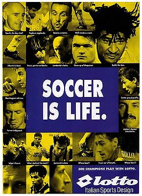 """1994 """"Lotto"""" Soccer Shoes """"Soccer Is Life"""" Vintage Print Advertisement"""