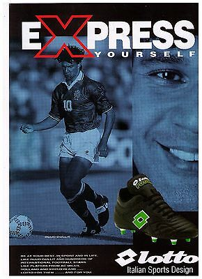 """1993 Ruud Gullit """"Lotto"""" Soccer Shoes Vintage Print Advertisement"""