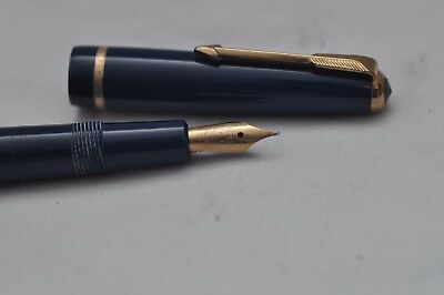 Lovely Vintage Parker Slimfold Fountain Pen Blue & Gold Trim Working - 14k Nib