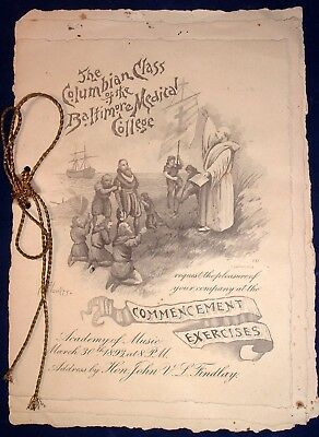 RARE Columbian Class Baltimore Medical College 1893 Commencement Complete