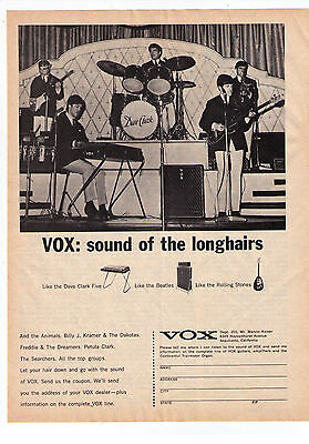 """1965 Dave Clark Five Vox """"Sound Of The Longhairs"""" Vintage Print Advertisement"""