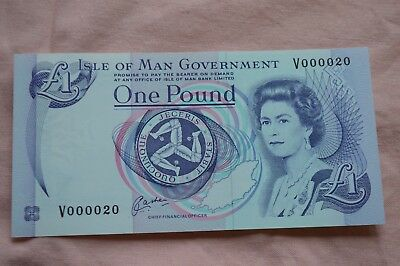 Isle of Man Government One Pound £1 Banknote V000020 Nice condition & Serial No