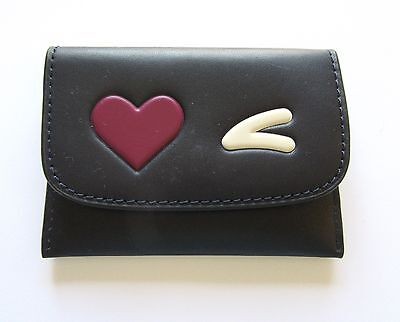 Coach Heart Card Pouch Case- midnight black purple heart white eyebrow F11720