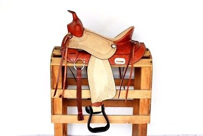 """16"""" Hard Seat Rough Out Western Horse Trail Rodeo Barrel Leather Saddle Tack"""