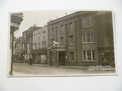 The white lion pub Upton on Severn Worcestershire real photo postcard unposted